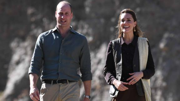 CHITRAL DISTRICT, PAKISTAN - OCTOBER 16: Prince William, Duke of Cambridge and Catherine, Duchess of Cambridge visit the village of Bumburet on October 16, 2019 in the Chitral District of Khyber-Pakhunkwa Province, Pakistan. They spoke with a an expert about how climate change is impacting glacial landscapes. The Cambridge