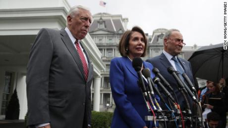 WASHINGTON, DC - OCTOBER 16:  U.S. Speaker of the House Rep. Nancy Pelosi (D-CA), Senate Minority Leader Sen. Chuck Schumer (D-NY) (R) and House Majority Leader Rep. Steny Hoyer (D-MD) brief members of the media outside the West Wing of the White House after a meeting with President Donald Trump October 16, 2019 in Washington, DC. President Trump met with members of Congress to discuss his decision to withdraw U.S. troops from Syria and Turkey's ongoing offensive campaign in northern Syria. (Photo by Alex Wong/Getty Images)