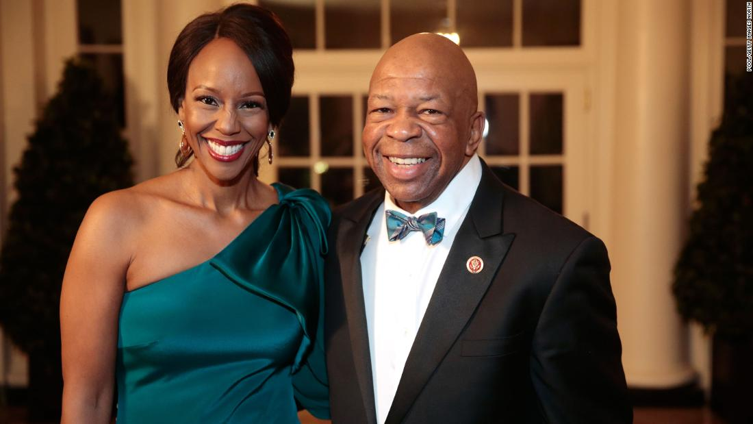 Cummings and his wife, Maya Rockeymoore Cummings, arrive at a state dinner hosted by Obama at the White House in February 2014.