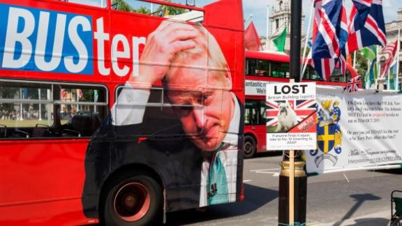 On the day that Britain's new Conservative Party Prime Minister, Boris Johnson enters Downing Street to begin his government administration, replacing Theresa May after her failed Brexit negotiations with the European Union in Brussels, a bus tours parliament Square with a hashtag about Johnson's reputation of aneconomy with the truth, on 24th July 2019, in Westminster, London, England. (Photo by Richard Baker / In Pictures via Getty Images Images)