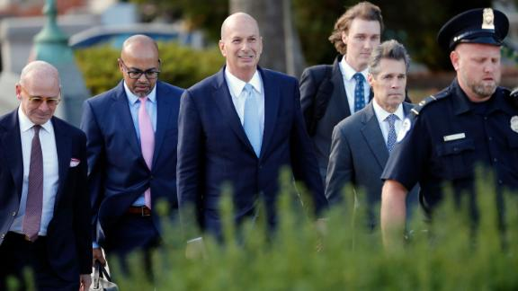 US Ambassador to the European Union Gordon Sondland, center, arrives at the US Capitol in Washington, Thursday, Oct. 17, 2019.  (AP Photo/Pablo Martinez Monsivais)