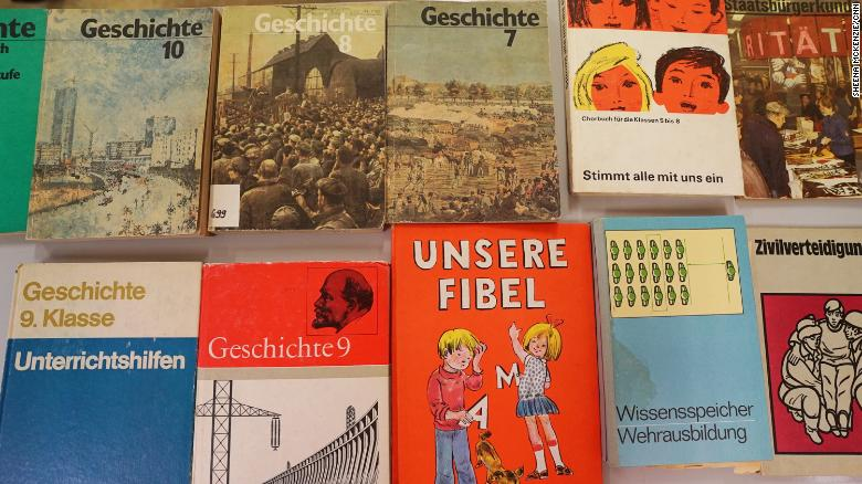 A collection of former East German textbooks, on display at the School Museum in Leipzig, Germany.