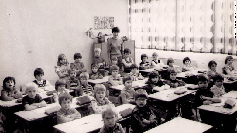 East German student Robert Schleif's first grade class, pictured in 1977.