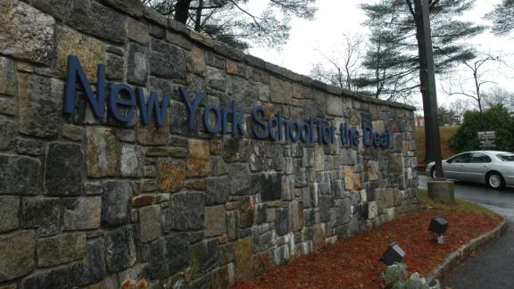 The entrance to the campus for the New York School for the Deaf in White Plains, New York.