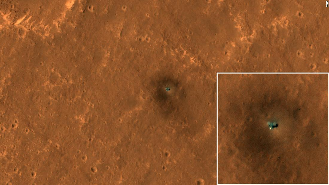 The InSight lander was imaged from above by the Mars Reconnaissance Orbiter.