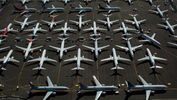 Boeing 737 MAX airplanes are seen parked on Boeing property near Boeing Field in August 2019 in Seattle, Washington.