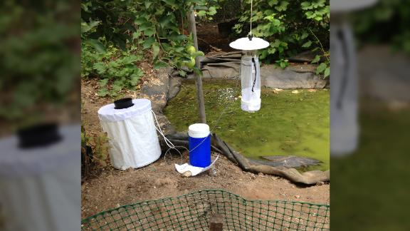 The traps that the researchers used to capture mosquitoes.