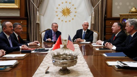 Vice President Mike Pence meets with Turkish President Recep Tayyip Erdogan at the Presidential Palace for talks on the Kurds and Syria, Thursday, October 17, in Ankara, Turkey.