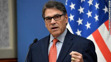 US Energy Secretary Rick Perry speaks during a joint press conference with Hungary's Minister of Foreign Affairs and Trade after a meeting on November 13, 2018 in Budapest.