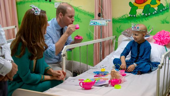 William joined a tea party with cancer patient Wafia Remain, 7, during the couple's visit to Shaukat Khanum Memorial Cancer Hospital.