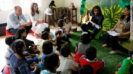 William and Kate received finger puppets as they participated in a musical storytelling session in the Village.