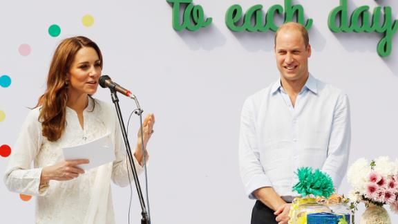 Kate made her first speech of the tour while in Lahore on Thursday.