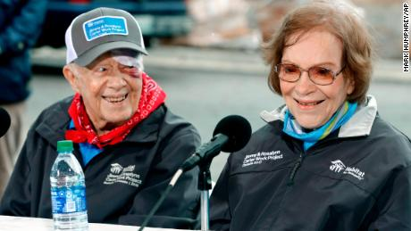 Former President Jimmy Carter and former first lady Rosalynn Carter answer questions during a news conference at a Habitat for Humanity project Monday, Oct. 7, 2019, in Nashville, Tenn. Jimmy Carter fell at home on Sunday, requiring over a dozen stitches, but he did not let his injuries keep him from participating in his 36th building project with the nonprofit Christian housing organization. He turned 95 last Tuesday, becoming the first U.S. president to reach that milestone. (AP Photo/Mark Humphrey)