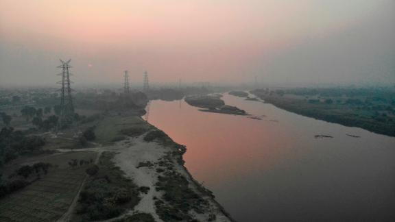 The Yamuna River on a polluted day in New Delhi on October 18, 2019.