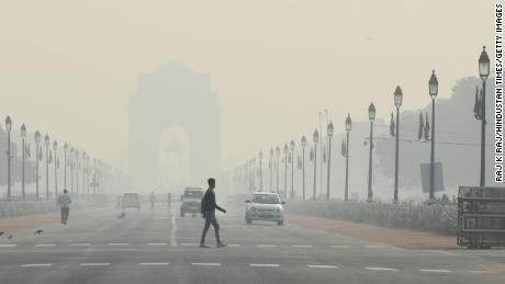 A view of the Rajpath boulevard on a smoggy morning on October 15, 2019 in New Delhi, India.