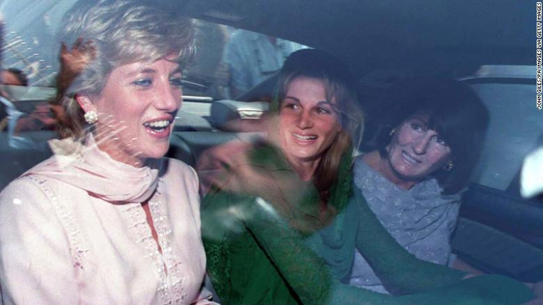 A laughing Princess of Wales with Jemima Khan (now Goldsmith) and her mother, Annabel Goldsmith, in Lahore, Pakistan.