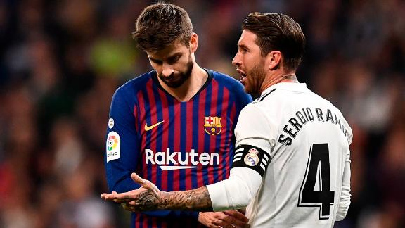 Real Madrid's Sergio Ramos and Barcelona's Gerard Pique during last season's El Clasico.