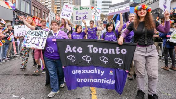 An ace group marches at the Toronto Pride Parade on June 24, 2018.