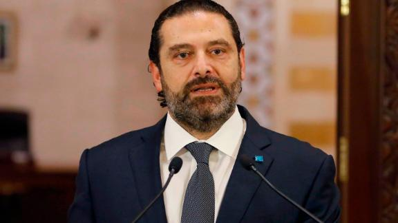 Lebanese Prime Minister Saad Hariri gives an address at the government headquarters in the centre of the capital Beirut on October 18, 2019. - Hariri gave his government three days to back key reforms as protests against the political elite and austerity measures rocked the country for a second day. (Photo by Marwan TAHTAH / AFP) (Photo by MARWAN TAHTAH/AFP via Getty Images)