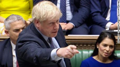 "Brexit. Prime Minister Boris Johnson delivers a statement in the House of Commons, London, to update the House on his new Brexit deal after the EU Council summit, on what has been dubbed ""Super Saturday"" . Picture date: Saturday October 19, 2019. The House of Commons usually sits from Monday to Thursday, and on the occasional Friday. But on Saturday October 19 there will be an extraordinary sitting of Parliament - the first on a weekend since April 1982 - to discuss Boris Johnson's new Brexit deal. See PA story POLITICS Brexit. Photo credit should read: House of Commons/PA Wire URN:47572249 (Press Association via AP Images)"
