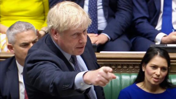 """Brexit. Prime Minister Boris Johnson delivers a statement in the House of Commons, London, to update the House on his new Brexit deal after the EU Council summit, on what has been dubbed """"Super Saturday"""" . Picture date: Saturday October 19, 2019. The House of Commons usually sits from Monday to Thursday, and on the occasional Friday. But on Saturday October 19 there will be an extraordinary sitting of Parliament - the first on a weekend since April 1982 - to discuss Boris Johnson"""