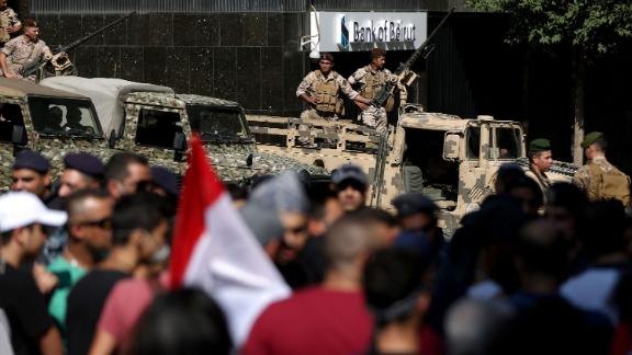 Lebanese soldiers stand guard in Beirut