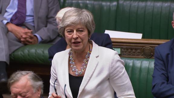 Former Prime Minister Theresa May spoke in favor of Johnson