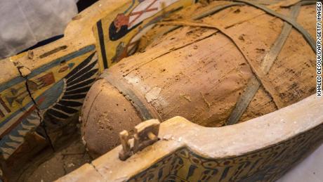An open casket displayed in Luxor reveals a mummy. [19659018] An open casket displayed in Luxor reveals a mummy.