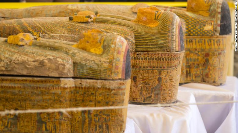 Egyptian authorities have unveiled 30 ancient wooden coffins recently discovered in Luxor.