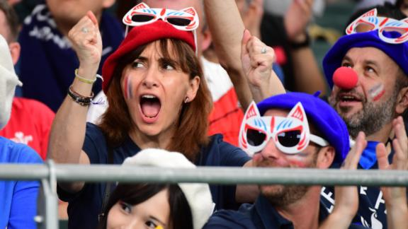 France fans are pictured during the Rugby World Cup 2019 quarterfinal against Wales.