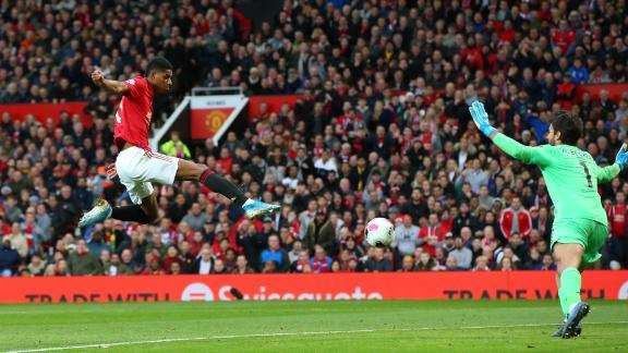 Marcus Rashford of Manchester United scores during the Premier League clash between United and Liverpool at Old Trafford on Sunday.