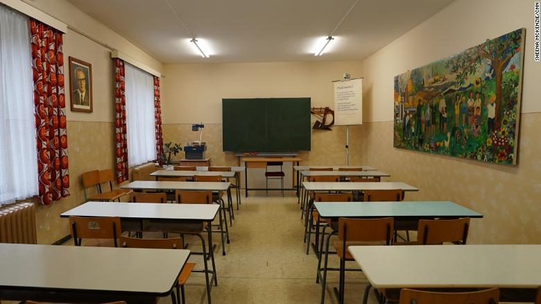 A recreated former East German classroom at the School Museum in Leipzig, Germany.