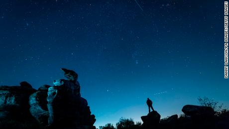The Orionid meteor shower over Brimham Rocks in Yorkshire, England.