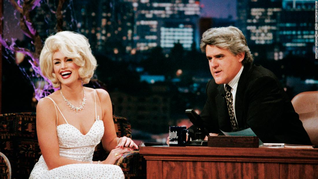 Cindy Crawford dressed as Marilyn Monroe for an appearance on The Tonight Show with Jay Leno on Halloween 1996.