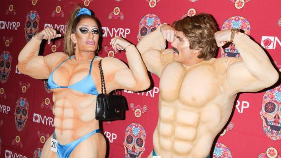 Marc Jacobs and husband Charly Defrancesco dressed as bodybuilders for Bette Midler