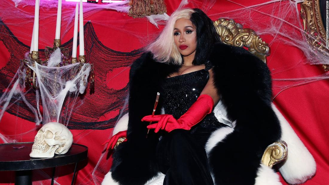 Cardi B wore a Cruella de Vil ensemble for Halloween in 2017.