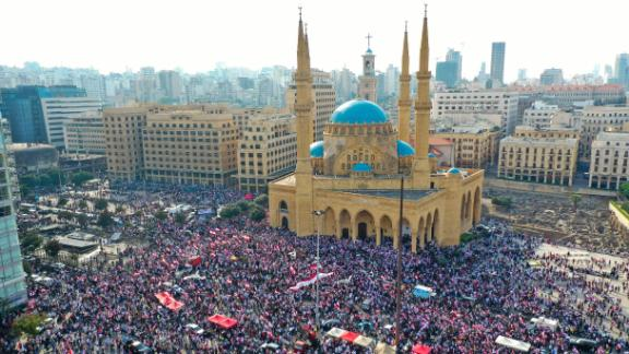 Lebanese protesters rally in central Beirut on Sunday during demonstrations against tax increases and official corruption.