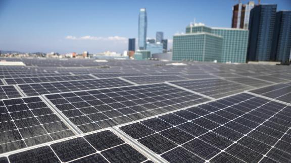 LOS ANGELES, CA - SEPTEMBER 05:  Solar panels are mounted atop the roof of the Los Angeles Convention Center on September 5, 2018 in Los Angeles, California. The solar array of 6,228 panels is expected to generate 3.4 million kilowatt hours of electricity per year. A landmark bill committing the state to 100 percent clean energy by 2045 may be signed by California Governor Jerry Brown. (Photo by Mario Tama/Getty Images)