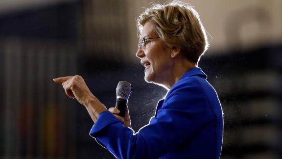 Democratic presidential candidate Sen. Elizabeth Warren, D-Mass., speaks to students and staff at Roosevelt High School, Monday, October 21.