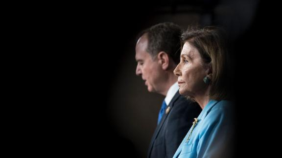 House Speaker Nancy Pelosi of Calif., and Chairman of the House Intelligence Committee Rep. Adam Schiff, D-Calif., hold a press conference in the US Capitol on Wednesday October 2.