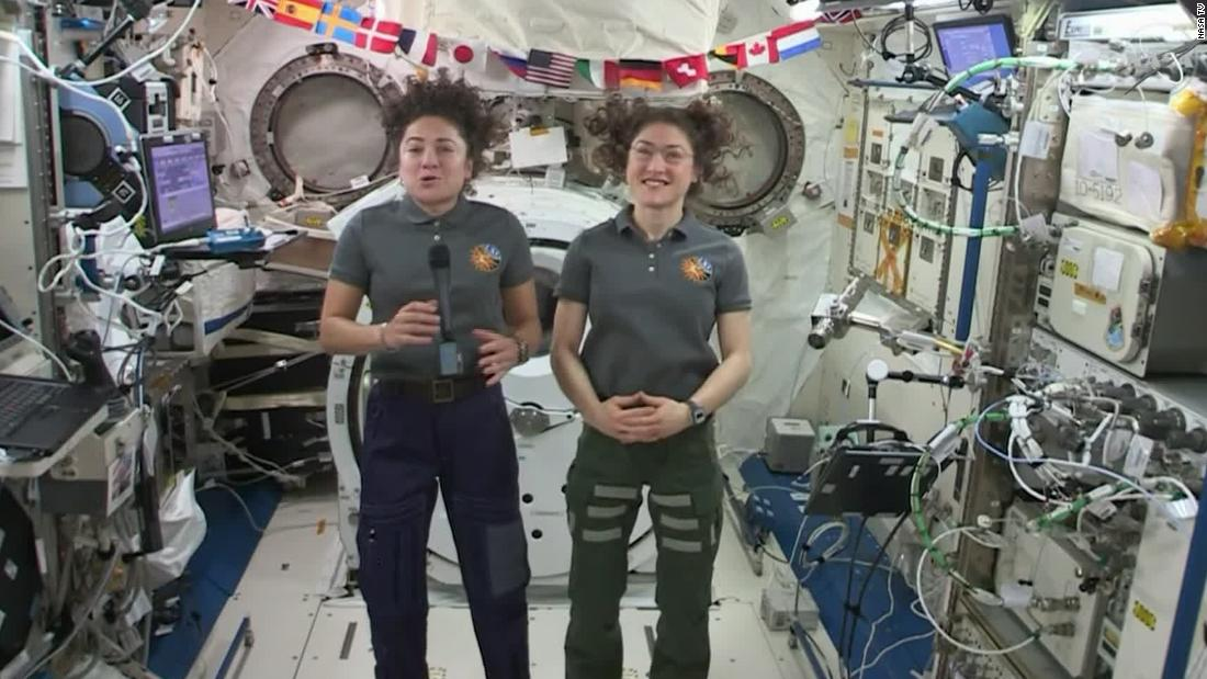 All-female spacewalk astronauts give interview from space