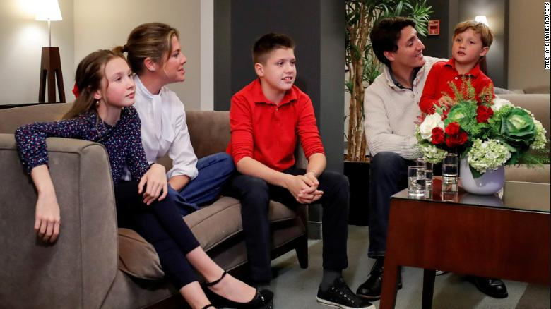 Liberal leader and Canadian Prime Minister Justin Trudeau and his wife Sophie Gregoire Trudeau, sons Xavier and Hadrien, and daughter Ella-Grace watch a television broadcast of the initial results from the federal election, in Montreal, Canada,