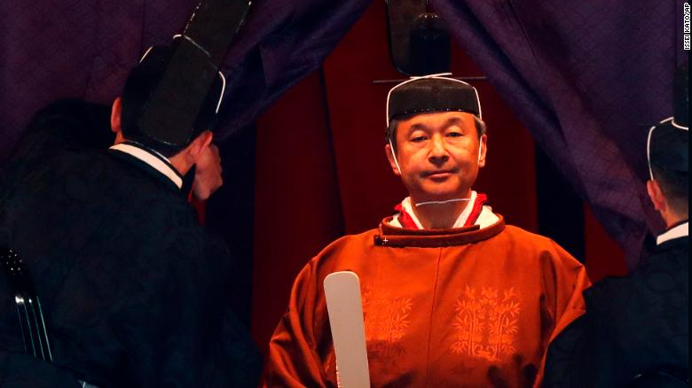 Japan's Emperor Naruhito makes his appearance during a ceremony to proclaim his enthronement to the world at the Imperial Palace in Tokyo, Japan, on October 22, 2019.