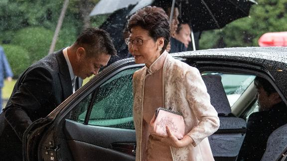 Chief Executive of Hong Kong Carrie Lam arrives at Emperor Naruhito's enthronement ceremony.