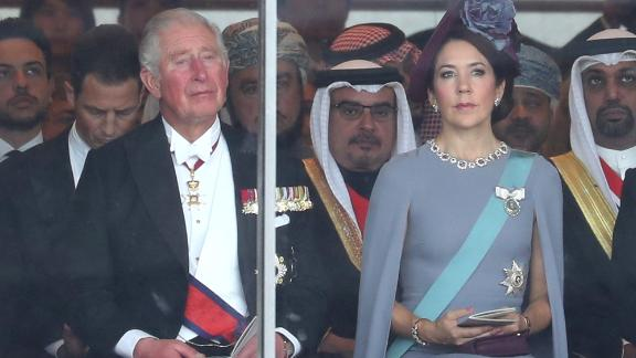 Prince Charles, Prince of Wales and Crown Princess Mary of Denmark wait for Emperor Naruhito's enthronement ceremony to begin.