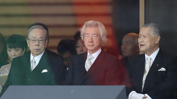 Japan's former prime ministers, Taro Aso, left, Yasuo Fukuda, center, Junichiro Koizumi, right and Yoshiro Mori, far right, attend Japan's Emperor Naruhito's proclamation ceremony marking his ascension to the throne.