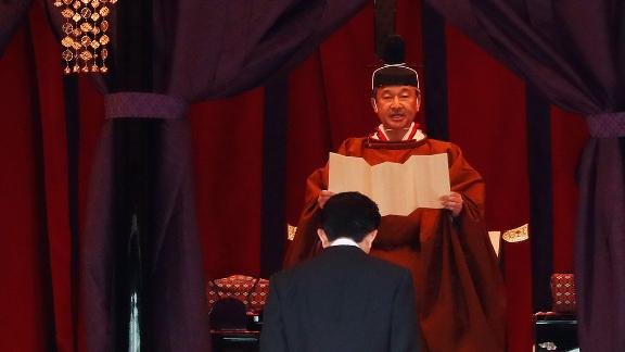 Japan's Emperor Naruhito proclaims his enthronement to the world at the Imperial Palace on Tuesday, October 22 in Tokyo, Japan.