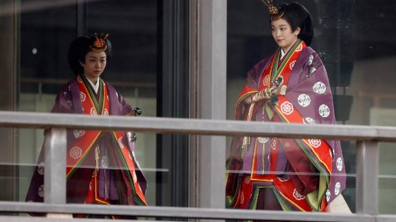 Japan's Princess Kako and Princess Mako arrive for Emperor Naruhito's enthronement ceremony.