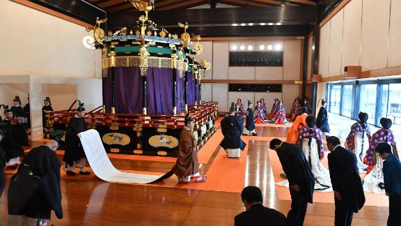 Emperor Naruhito leaves the state room at the end of the enthronement ceremony where the emperor officially proclaimed his ascension to the Chrysanthemum Throne on October 22.