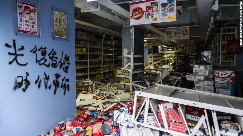 Scattered merchandise inside a vandalized store during a protest in Hong Kong on October 20, 2019.